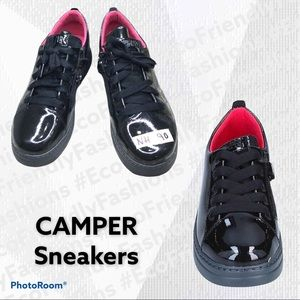 CAMPER Back Patent Leather Lace/Zip Up Sneakers